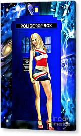 Doctor Who - Tardis And Rose Tyler Acrylic Print by Alicia Hollinger