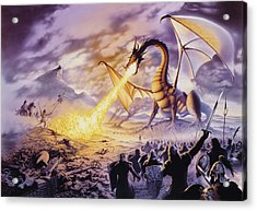 Dragon Battle Acrylic Print by The Dragon Chronicles - Steve Re