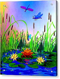 Dragonfly Pond Acrylic Print by Hanne Lore Koehler