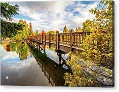 Drake Park Bridge Fall Bend Oregon Acrylic Print by John Williams