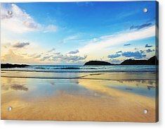 Dramatic Scene Of Sunset On The Beach Acrylic Print by Setsiri Silapasuwanchai