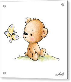 Drawing Of Cute Teddy Bear With Butterfly Acrylic Print by Anna Abramska
