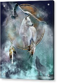 Dream Catcher - Spirit Of The White Wolf Acrylic Print by Carol Cavalaris