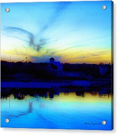 Dreamscape Blue Water Sunset  Acrylic Print by Nada Frazier