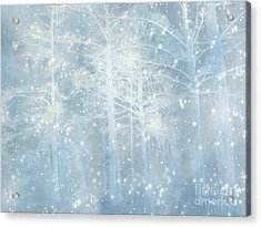 Dreamy Blue Stars And Snow Woodlands Nature Acrylic Print by Kathy Fornal
