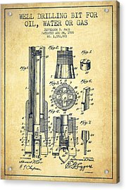 Drilling Bit For Oil Water Gas Patent From 1920 - Vintage Acrylic Print by Aged Pixel