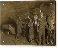Drivers And Mules With Young Laborers Acrylic Print by Everett