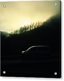 Driving Through The Fog Acrylic Print by Contemporary Art