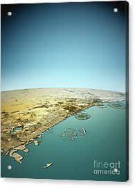 Dubai 3d View North-south Natural Color Acrylic Print by Frank Ramspott
