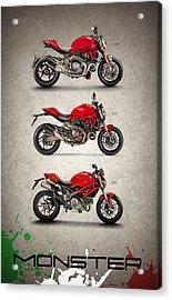 Ducati Monster Trio Acrylic Print by Mark Rogan