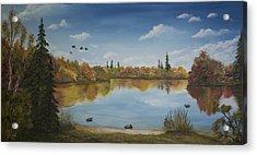 Duck Park Acrylic Print by John Reid