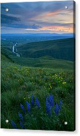 Dusk Over The Yakima Valley Acrylic Print by Mike  Dawson