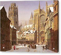 Dutch Cathedral Town Acrylic Print by Heinrich Hansen