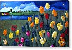 Dutch Tulips With Landscape Acrylic Print by Joyce Geleynse