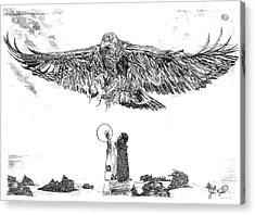 Eagle Visit Acrylic Print by John Keaton