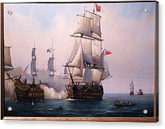 Early Painting Of The Battle Of Trafalgar. Acrylic Print by Mike Jeffries