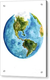 Earth America Watercolor Poster Acrylic Print by Joanna Szmerdt