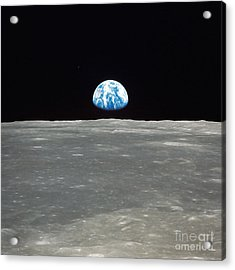Earth And The Moon Acrylic Print by Stocktrek Images
