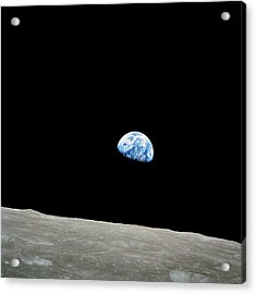 Earthrise Over Moon, Apollo 8 Acrylic Print by Nasa