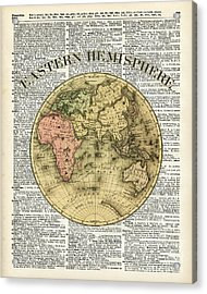Eastern Hemisphere Earth Map Over Dictionary Page Acrylic Print by Jacob Kuch