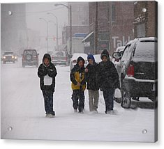 Eating Doughnuts In The Snowstorm Acrylic Print by Don Wolf