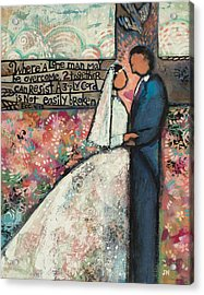 Ecclesiastes 4 12 Wedding Art Acrylic Print by Jen Norton