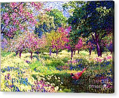Echoes From Heaven, Spring Orchard Blossom And Pheasant Acrylic Print by Jane Small
