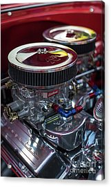 Edelbrock And Chevy Acrylic Print by Mike Reid