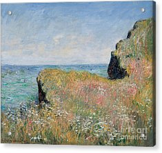 Edge Of The Cliff Pourville Acrylic Print by Claude Monet