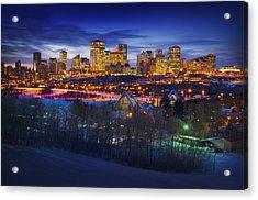 Edmonton Winter Skyline Acrylic Print by Corey Hochachka
