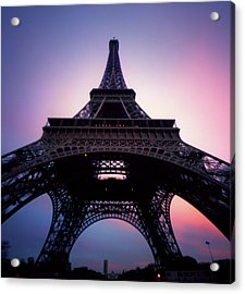 Eiffel Tower At Sunset Acrylic Print by Zeb Andrews