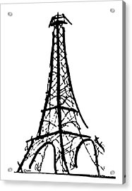 Eiffel Tower Black And White Acrylic Print by Robyn Saunders