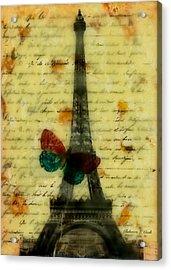 Eiffel Tower Memory Encaustic Acrylic Print by Bellesouth Studio