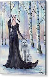 Eindride Nordi Goddess With Wolf Acrylic Print by Renee Lavoie