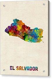 El Salvador Watercolor Map Acrylic Print by Michael Tompsett