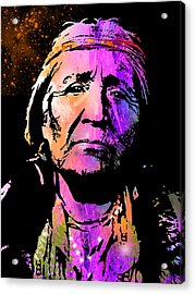 Elderly Hupa Woman Acrylic Print by Paul Sachtleben