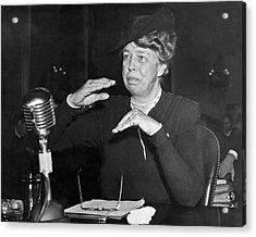 Eleanor Roosevelt At Hearing Acrylic Print by Underwood Archives