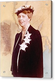 Eleanor Roosevelt. Hand Colored Acrylic Print by Everett