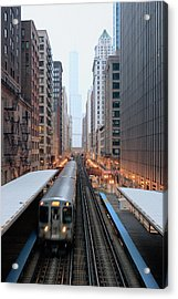 Elevated Commuter Train In Chicago Loop Acrylic Print by Photo by John Crouch