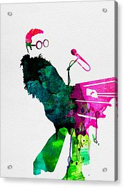 Elton Watercolor Acrylic Print by Naxart Studio
