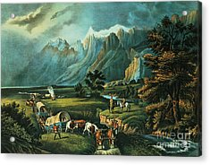 Emigrants Crossing The Plains Acrylic Print by Currier and Ives