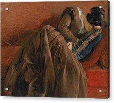 Emilie The Artist's Sister Asleep Acrylic Print by Adolph Friedrich Erdmann von Menzel