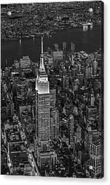 Empire State Building Aerial View Bw Acrylic Print by Susan Candelario