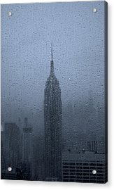 Empire State In The Rain Acrylic Print by Martin Newman