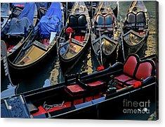 Empty Gondolas Floating On Narrow Canal In Venice Acrylic Print by Sami Sarkis