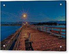 Empty Pier Glow Acrylic Print by Connie Cooper-Edwards