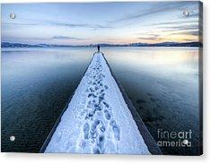 End Of The Dock In Lake Tahoe  Acrylic Print by Dustin K Ryan