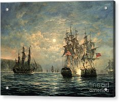Engagement Between The 'bonhomme Richard' And The ' Serapis' Off Flamborough Head Acrylic Print by Richard Willis