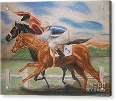 English Horse Race Acrylic Print by Nancy Rucker