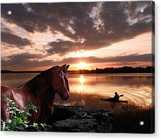 Enjoying The Sunset Acrylic Print by Michele Loftus